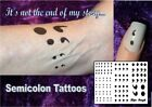 SEMICOLON survivor  temporary tattoos WATERPROOF LAST 1 WEEK + hope semi colon