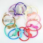 6/12Pcs Baby Toddler Girls PU Leather Bow Nylon Hair Band Headband Accessories