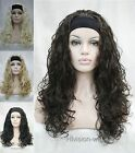 4 colors Long Curly Wave fluffy women Daily 3/4 half wig headband AF#1367