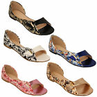 Ladies Flat Sandals Floral Print Womens Slip On Open Toe Bella Star Casual Shoes