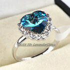 "A1-R176 Fashion CZ ""Heart of Ocean"" Ring 18KGP Crystal Size 6 -10"