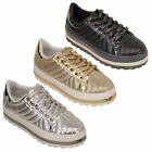 Ladies Creepers Trainers Womens Lace Up Platform Flatform Quilted Patent Shoes