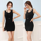 Women Sleeveless T-Shirt Long Tank Tops Waistcoat Skinny Vest Bottom Dress