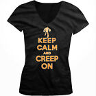 Keep Calm And Creep On Skeleton Halloween Costume Girls Junior V-Neck T-Shirt