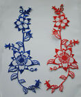 4PCS Embroidered Red/Blue Flower patch iron on Appliques FT19