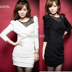 Hot Look Women's Sexy Splicing Neckline Mesh Design Long Sleeve Ruffle DressK0E1