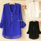 Fashion Women V-Neck Asymmetric Hem Pure 3 Color Loose Tops Blouse Chiffon K0E1