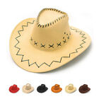 Retro Unisex Cowboy Bucket Brim Cap Western Sun Visor Knight Hat with Chin Cord