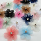 10/20/100pcs Organza Ribbon Flowers Bows Appliques Craft  Wedding Doll Dec A0548
