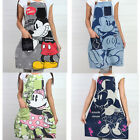 Disney Mickey Mouse Minnie Adult Apron 100% Cotton Unisex Women Cute Cook Lovely