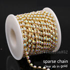 1/10yd ss6-ss38 Crystal Clear AB Rhinestones Gold cup Chain Sewing Trim Applique