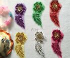 2PCS Embroidered Sequins 3D Colorful flower Sewing Appliques Dress Craft  WT89