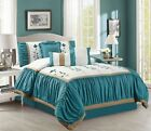 11 Piece Floral Ruffled Teal/Ivory Bed in a Bag w/500TC Cotton Sheet Set