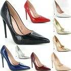 Ladies Womens Pointed High Heel Smart Work Party Pumps Court Shoes New Size