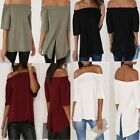 LADIES WOMENS BARDOT FRILL SHORT SLEEVE SWING TOP OFF SHOULDER LOOK TOPS EA
