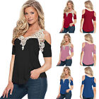Fashion Womens Summer Lace Top Short Sleeve Blouse Ladies Casual Tops T-Shirt US