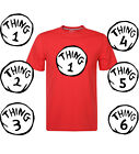 Dr Seuss Cat in the Hat T-shirts Thing 1 – Thing 6 Funny Mens Red Tee S-XXL