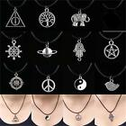 Tibetan Silver Choker Charm Pendant Necklace Retro Hippy Black With Leather Cord image
