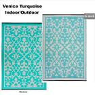 Fab Rugs Venice Turquoise Indoor/Outdoor Modern Poly Floor Rug Picnic/Camping