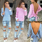 Fashion Womens Ladies Casual Long Sleeve Vest T Shirt Blouse Loose Top Off Back