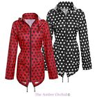 Womens Ladies Spotted Mac Fishtail Parka Showerproof Raincoat Hooded Jacket