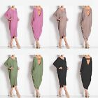 Womens Long Sleeve Backless Party Cocktail Clubwear Baggy Midi Dress Plus Size
