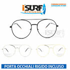 OCCHIALI MARCA ISURF MODELLO BIG NERD ROUND METAL NEUTRAL FASHION LENTE NEUTRA