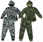 Boys Army Camouflage Neon Zipper Hoody Camo Tracksuit Jog Set 4 to 14 Years