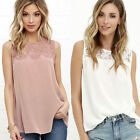New Women Summer Casual Sleeveless Chiffon Vest Lace T Shirt Blouse Loose Tops