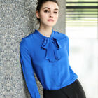 Good Quality 100% Pure CDC Silk BOW-TIE Top Shirt Blouse S-XL