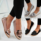 New Womens Loafers Brogue Ballet Metallic Fringe Tassel Pumps Casual Flat Shoes