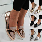 New Womens Loafers Brogue Metallic Glitter Tassel Pumps Casual Flat Shoes Sizes