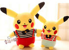 plush toy stuffed doll striped shirt suspender bowknot Pikachu cartoon anime 1pc