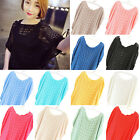 Fashion Women Bat Wing Sleeve Knit Hollow Out Loose Jumper Sweater Pullover