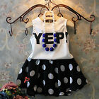 Kids Baby Girl Big Spotted Outfit Clothes Shirt Top + Black Skirt Dress 2PCS Set