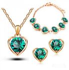 Fashion Gold Plated Jewelry Set Crystal Heart Woman Earrings Necklace Bracelet