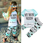 2Pcs Kid Baby Girl Cotton Outfit Letter Shirt + Geometric Flare Pant Clothes Set