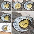 """Family I LOVE YOU TO THE MOON AND BACK """" Gold/Silver  Necklace Charm Pendant"""
