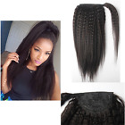 Virgin Real Human Hair Ponytail Kinky Straight Clip in on Hair Extensions 18-22'