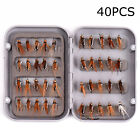40Pcs Fly Fishing Lure Set Artificial Insect Bait Trout Flying Hooks Tools Box