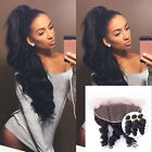 HOT:)100% Human Hair Loose Wave 13x2 Lace Closure Ear to Ear with 3 Bundles/300g