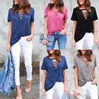 Fashion Casual Womens Pullover T Shirt Short Sleeve Cotton Tops Shirt Blouse US