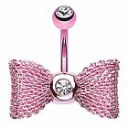 Pink & Clear CZ Anodized Mesh Bow Surgical Steel Belly Ring