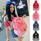 Fashion Casual Stripes Pattern Women Men Canvas School Backpack Travel Rucksack