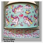 1m UNICORN AND RAINBOWS WITH STARS MOON HEARTS 25MM/75MM MINT GROSGRAIN RIBBON