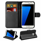 Premium Leather Flip Case Wallet Card Slot + Tempered Glass For Samsung A3 2017