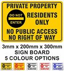 Private Property Residents Only No Public Access No Right of Way Sign 20cmx30cm