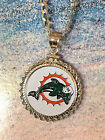 Kyпить STERLING SILVER PENDANT W/ HAND PAINTED NFL MIAMI DOLPHINS SETTING - GIFT на еВаy.соm