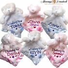 PERSONALISED TEDDY BEAR FLUFFY BABY COMFORTER BLANKET BIRTH/CHRISTENING GIFT