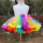 US Girls Kids Baby Rainbow Tutu Skirt Party Costume Fancy Tutu Pettiskirt 0-8Y Y